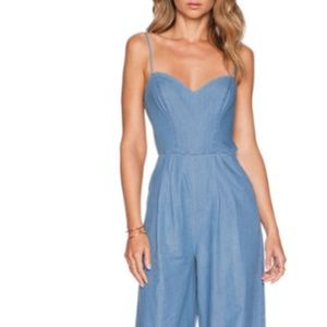 Lovers + Friends Jumpsuit Chambray Sweatheart Neck